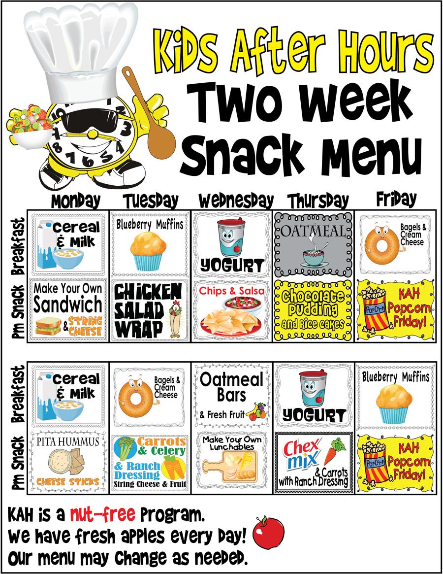Kids After Hours Sample Breakfast and Snack Menu - Kids